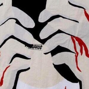 A close up photo of an artwork, Hajen by Ellen Macke Alström